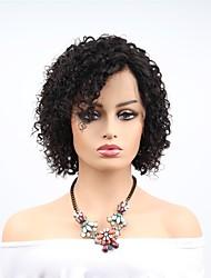 Недорогие -человеческие волосы Remy Полностью ленточные Парик Ассиметричная стрижка стиль Бразильские волосы Афро Квинки Черный Парик 130% 150% 180% Плотность волос