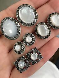 cheap -Women's Opal Stud Earrings Earrings Set Vintage Style Marcasite Drop Ladies Bohemian Fashion Elegant Earrings Jewelry Silver For Party / Evening Gift 4 Pairs