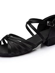cheap -Women's Dance Shoes Satin Latin Shoes Splicing Sandal / Heel Thick Heel Customizable Black / Performance / Practice