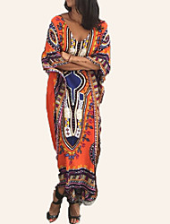 cheap -Women's Holiday Maxi Loose Tunic Dress - Tribal Print V Neck Summer Black Orange Yellow One-Size