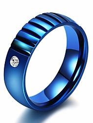 Недорогие -Для пары Кольцо Цирконий 1шт Синий Стразы Титановая сталь Круглый Дамы Художественный Классика Подарок Свидание Бижутерия Классический Пасьянс Креатив драгоценный Cool
