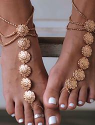 Недорогие -Украшения на ноги украшения для ног Дамы Винтаж Жен. Украшения для тела Назначение Повседневные Спорт Сплав Цветы Золотой Серебряный