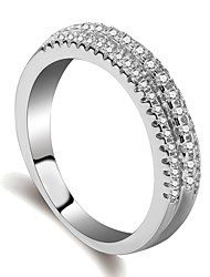 cheap -Women's Ring Eternity Band Ring Micro Pave Ring 1pc Silver Brass Platinum Plated Imitation Diamond Ladies Elegant Trendy Daily Formal Jewelry Stylish Star Cool
