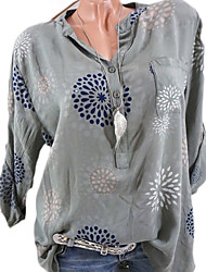 cheap -Women's Daily Basic Shirt - Floral V Neck Light Brown