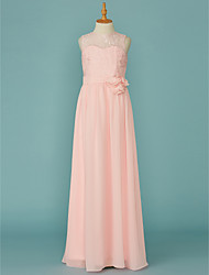 cheap -A-Line Jewel Neck Floor Length Chiffon / Lace Junior Bridesmaid Dress with Lace / Sash / Ribbon