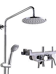 cheap -Shower Faucet - Contemporary Chrome Wall Installation Ceramic Valve Bath Shower Mixer Taps / Brass / Single Handle Two Holes