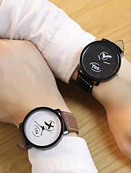 cheap -Couple's Wrist Watch Quartz Leather Black / Brown Casual Watch Analog Fashion - Black / Brown Black / White White / Brown