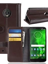 Недорогие -Кейс для Назначение Motorola Moto Z2 play / Moto X4 / MOTO G6 Кошелек / Бумажник для карт / Флип Чехол Однотонный Твердый Настоящая кожа