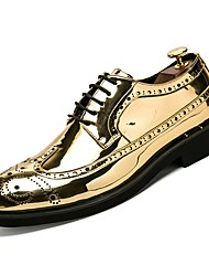 Недорогие -Муж. Комфортная обувь Лакированная кожа Осень Туфли на шнуровке Черный / Золотой / Серебряный / на открытом воздухе