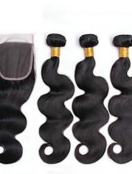 cheap -3 Bundles with Closure Brazilian Hair Body Wave Human Hair Natural Color Hair Weaves / Hair Bulk One Pack Solution Human Hair Extensions 8-20 inch Natural Human Hair Weaves Best Quality New Arrival