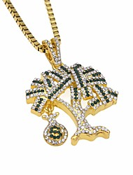 cheap -Men's Cubic Zirconia Pendant Necklace Chain Necklace Stylish Link / Chain Tree of Life Dollars life Tree Unique Design European Hip-Hop Hip Hop Rhinestone Alloy Gold Silver 60 cm Necklace Jewelry 1pc