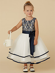 cheap -A-Line Tea Length Pageant Flower Girl Dresses - Lace / Tulle Sleeveless Scoop Neck with Sash / Ribbon / Bow(s)