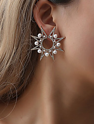 cheap -Women's Crystal Cubic Zirconia Stud Earrings Hollow Out Star Snowflake North Star Ladies Hyperbole Korean Fashion Pearl Imitation Diamond Earrings Jewelry Gold / Silver For Party / Evening Daily Date