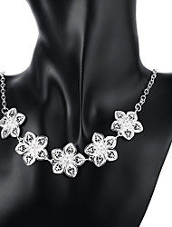 cheap -Women's Pendant Necklace Tassel Flower Ladies Fashion Sterling Silver Silver Plated Silver Necklace Jewelry For Special Occasion Birthday Gift