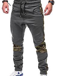 cheap -Men's Basic / Street chic Plus Size Daily Weekend Slim Sweatpants / Cargo Pants - Solid Colored / Color Block Patchwork Black Gray Khaki XXL XXXL XXXXL
