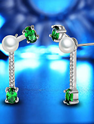 cheap -Women's Freshwater Pearl Drop Earrings Chandelier Flower Ladies Fashion Gold Plated Earrings Jewelry White / Green For Party Daily 1 Pair