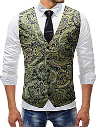 cheap -Plague Doctor Victorian Steampunk Waistcoat Paisley Coletes Men's Cotton Costume White / Green / Ink Blue Vintage Cosplay Party Halloween / Vest