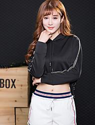 abordables -Femme Col en V Yoga Top Couleur unie Spandex Zumba Yoga Fitness Sweat à capuche Hauts / Top Manches Longues Tenues de Sport Respirable Séchage rapide Anti-transpiration Micro-élastique Standard