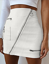 cheap -Women's PU Bodycon Skirts - Solid Colored Zipper White S M L / Mini