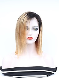 cheap -Remy Human Hair Full Lace Wig Asymmetrical Wendy style Brazilian Hair Straight Wig 130% 150% 180% Density with Baby Hair Women Easy dressing Sexy Lady Natural Women's 8-14 Human Hair Lace Wig PERFE