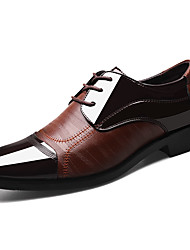 cheap -Men's PU Spring & Summer Comfort / Formal Shoes Oxfords Striped Black / Brown / Party & Evening / Party & Evening