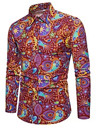 cheap -Men's Daily Club Vintage / Basic / Street chic Plus Size Linen Slim Shirt - Paisley / Tribal Print Red / Long Sleeve