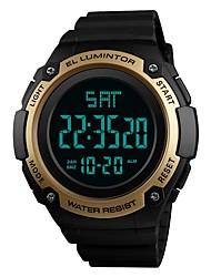 Недорогие -SKMEI Муж. Спортивные часы электронные часы Цифровой Стеганная ПУ кожа Черный / Зеленый / Цвет клевера 50 m Защита от влаги Календарь Секундомер Цифровой На каждый день Мода - Зеленый Синий Золотистый