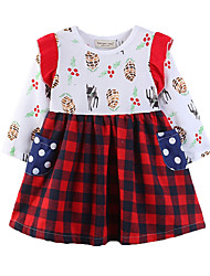 cheap -Kids Girls' Active Sweet Party Holiday Deer Plants Houndstooth Cartoon Patchwork Print Openwork Long Sleeve Above Knee Dress Red