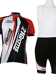 cheap -21Grams Men's Unisex Short Sleeve Cycling Jersey with Bib Shorts Red / White Bike Clothing Suit Breathable Moisture Wicking Quick Dry Sports Polyester Mountain Bike MTB Road Bike Cycling Clothing