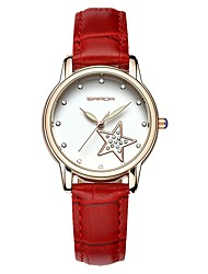 cheap -SANDA Women's Dress Watch Wrist Watch Japanese Quartz Leather Black / White / Red 30 m Water Resistant / Waterproof Calendar / date / day New Design Analog Ladies Casual Fashion - Black Brown Red