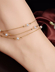 cheap -Leg Chain feet jewelry Ladies Simple Elegant Women's Body Jewelry For Daily Going out Beads Stacking Stackable Freshwater Pearl Alloy Gold 1pc