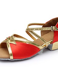 cheap -Women's Dance Shoes Satin / Patent Leather Latin Shoes Splicing Sandal / Heel Thick Heel Customizable Red / Performance / Practice