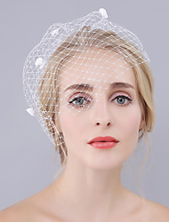 cheap -One-tier Euramerican Wedding Veil Blusher Veils with Petal 30 cm Cotton / nylon with a hint of stretch / Birdcage