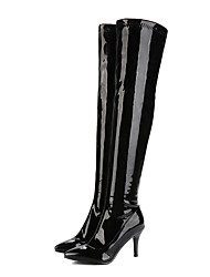 cheap -Women's Boots Party Heels Stiletto Heel Pointed Toe Patent Leather Over The Knee Boots Fashion Boots Fall & Winter Black / White / Red / Wedding / Party & Evening