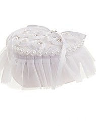 cheap -Fabrics Faux Pearl / Lace / Crystal / Rhinestone Satin Ring Pillow Beach Theme / Garden Theme / Butterfly Theme All Seasons