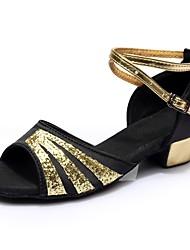 cheap -Women's Dance Shoes Satin / Patent Leather Latin Shoes Splicing Sandal / Heel Thick Heel Customizable Black / Performance / Practice / EU40