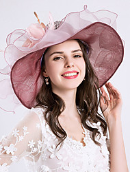 cheap -Women's Kentucky Derby Vintage Holiday Chiffon Lace Bucket Hat Floppy Hat Sun Hat-Solid Colored Floral Ruffle Mesh All Seasons Blushing Pink
