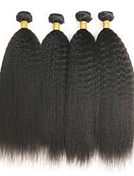 Недорогие -4 Связки Бразильские волосы Естественные прямые Необработанные натуральные волосы 200 g Пучок волос Накладки из натуральных волос Плетение 8-28 дюймовый Естественный цвет Ткет человеческих волос