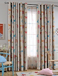 cheap -Blackout Curtains Drapes Two Panels Kids Room Cartoon Polyester Blend Printed