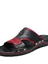 cheap -Men's Nappa Leather Summer Comfort Slippers & Flip-Flops Black / White / Black / Red / EU41