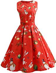 cheap -Mrs.Claus Dress Women's Adults Sweet Daily Wear Christmas Polyester Dress