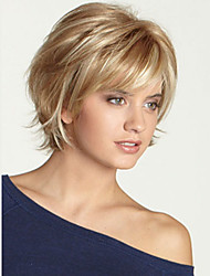 cheap -Human Hair Wig Short Wavy Bob Layered Haircut Short Hairstyles 2019 With Bangs Wavy Black Blonde Brown Side Part Capless Women's Blonde / Bleached Blonde Light Auburn Light Brown