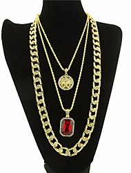 cheap -Men's AAA Cubic Zirconia Statement Necklace Long Necklace Cuban Link Thick Chain Head Statement Trendy Rock Hip Hop Alloy Black Dark Red 61/76 cm Necklace Jewelry 3pcs For Club Bar