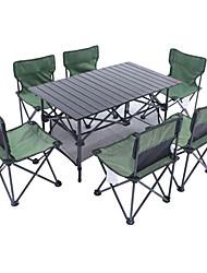cheap -Shamocamel® Camping Folding Table with Chairs Foldable Folding Oxford Cloth Aluminium alloy 6 Chairs 1 Table for 6 Fishing Beach Camping BBQ Autumn / Fall Spring Black