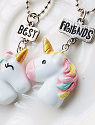 cheap -Women's Pendant Necklace Beads Unicorn Animal Ladies Dangling Cartoon Resin Alloy Rainbow 45 cm Necklace Jewelry 2pcs For Gift Holiday