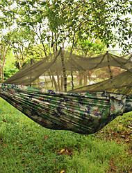 cheap -Camping Hammock with Mosquito Net Double Hammock Outdoor Portable Breathable Ultra Light (UL) Parachute Nylon with Carabiners and Tree Straps for 2 person Camping Camping / Hiking / Caving Outdoor