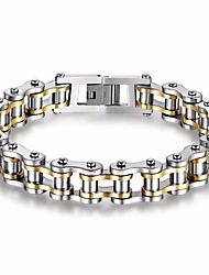 cheap -Men's AAA Cubic Zirconia Chain Bracelet Star Punk Rock Gothic Fashion Hip-Hop Cubic Zirconia Bracelet Jewelry Gold / Black For Gift Evening Party Street Going out / Titanium Steel / Gold Plated