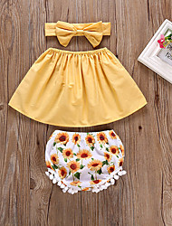 cheap -Baby Girls' Active / Boho Daily Sun Flower Solid Colored / Floral Bow Sleeveless Short Short Cotton Clothing Set Yellow / Toddler