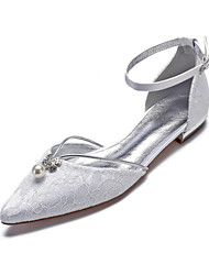 cheap -Women's Wedding Shoes Flat Heel Pointed Toe Rhinestone / Imitation Pearl Lace / Satin Classic / Sweet Spring & Summer / Fall & Winter White / Ivory / Party & Evening