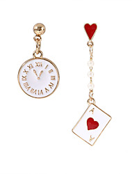 cheap -Women's Drop Earrings Mismatched Heart Poker Ladies European Fashion Earrings Jewelry Gold For Party 1 Pair